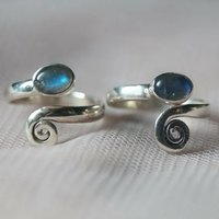 Toe Ring Oval Labradorite 925 Sterling Silver Hand Made Ic65