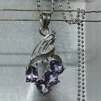 Pendant Amethyst Gemstone With Ball Chain 925 Sterling Silver Hand Made 787