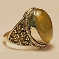 Ring Golden Rutile Size 9 Natural Gemstone 925 Sterling Silver Hand Made 723