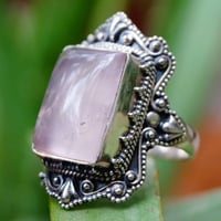 Ring For Gift Natural Emerald Rose Quartz Gemstone 925 Silver size 8 IC328