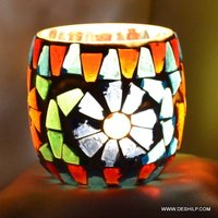 Hand Made Mosaic Candle Votive