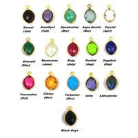 Marquise Birthstone Pendant Charms - Gold Plated Bezel Gemstone Charms