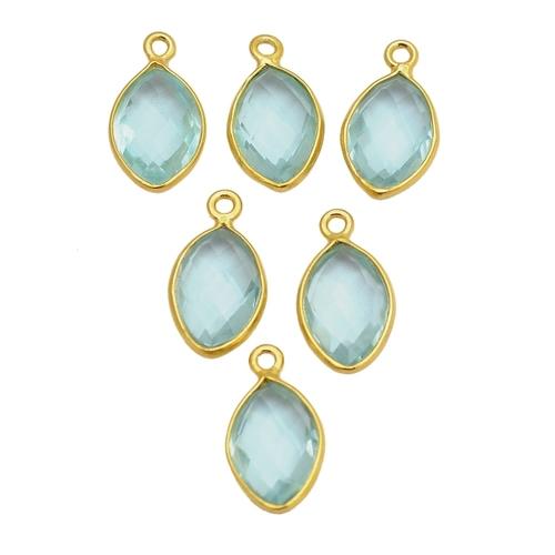 Aqua Quartz Marquise March Birthstone Pendant Charms - Gold Plated Bezel Gemstone Charms