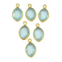 Aqua Quartz Marquise March Birthstone Pendant Charms - Gold Plated Bezel Gemstone Charms