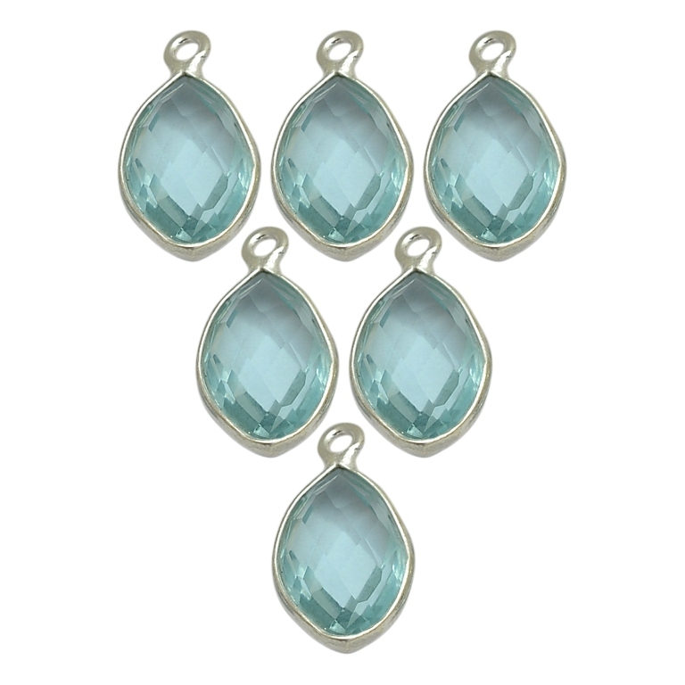 Aqua Quartz Marquise March Birthstone Pendant Charms