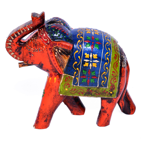 Indian Handmade Wooden Elephant Embose Painted Home Decor Craft