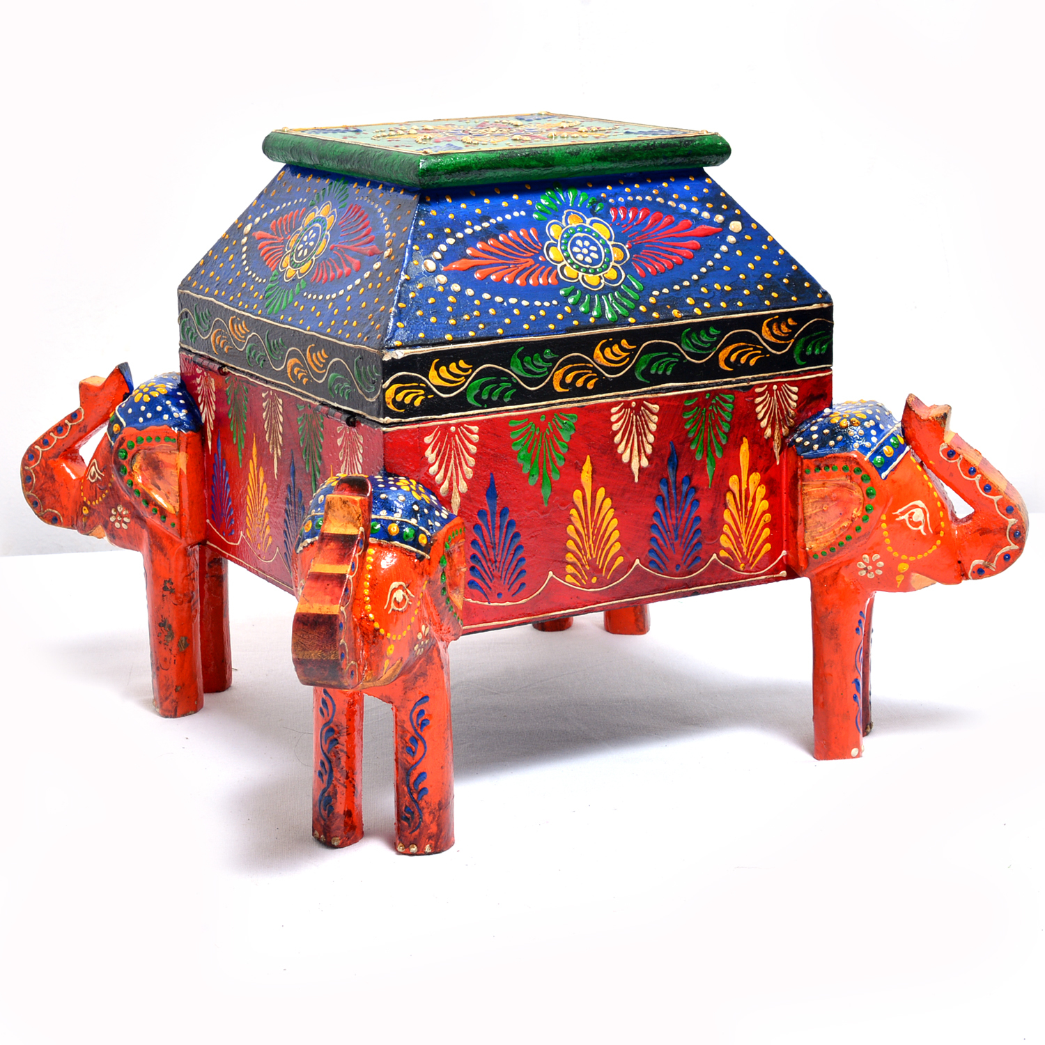 Antique Indian Hand Craft Wooden Elephant Dry Fruit Box