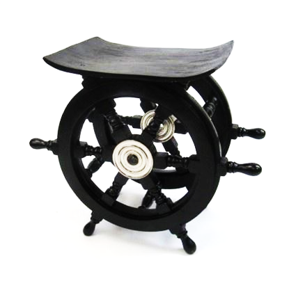 Wooden Pirate Ship Wheel Table Aluminum Hub16 Inch