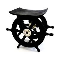 Wooden Pirate Ship Wheel Table Aluminum Hub16 Inch