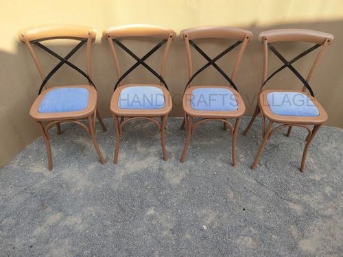Cross Back Iron Cushion Chair