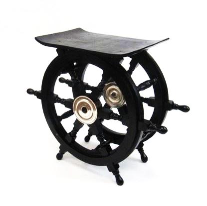 Wooden Black Ship Wheel Table
