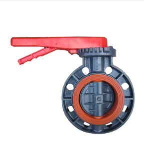 manual handle lever or gearbox UPVC butterfly valve FPM VITON lined