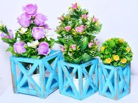 Indian Handmade Wooden Rustic Painted Risers Home Decorative Flower Pot