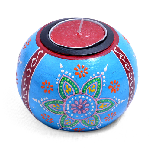 Indian Home Decor Emboss Painted Wooden Ball Tea Light