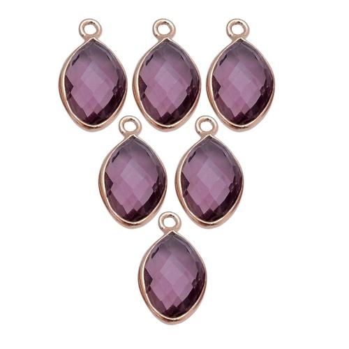 Amethyst Quartz Marquise February Birthstone Pendant Charms - Gold Plated Bezel Gemstone Charms