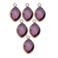 Amethyst Quartz Marquise February Birthstone Pendant Charms - Gold Plated Bezel Gemstone Charms