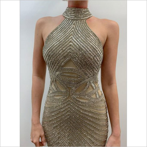 Golden beaded Evening Gown