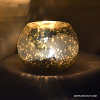 Silver Finish Handmade Glass Votive