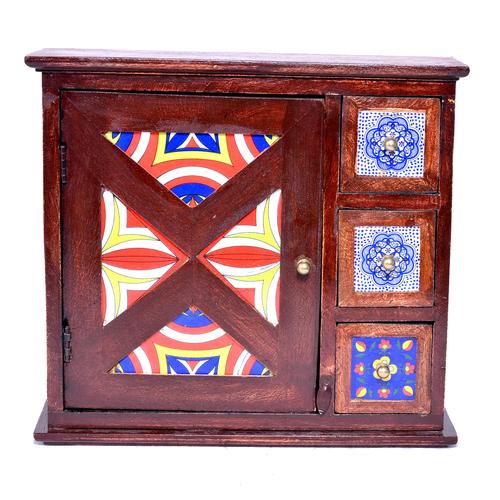 Decorative Indian Handmade Wooden Tiles Drawer Key Holder Box