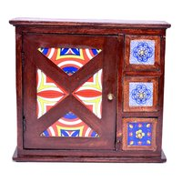 Decorative Indian Handmade Wooden Tiles Drawer Key Holder Box