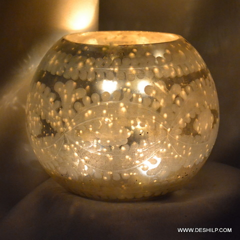 Beautifully Silver Finish Glass Candle Holder
