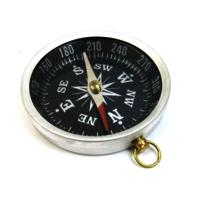 Antique Aluminum Flat Compass Black Dial