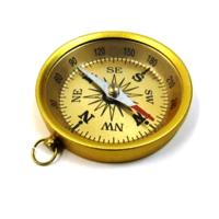 Antique Aluminum Flat  Compass Gold Finish