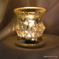 Silver Glass T Light Candle
