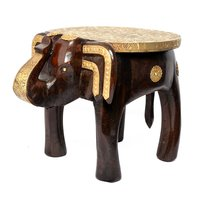Antique Home Decoration Handmade Wooden Brass Fitted Elephant Stool