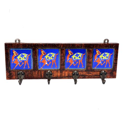 Attractive New Designer Handmade Wooden Camel Printed Ceramic Tile Wall Hanging
