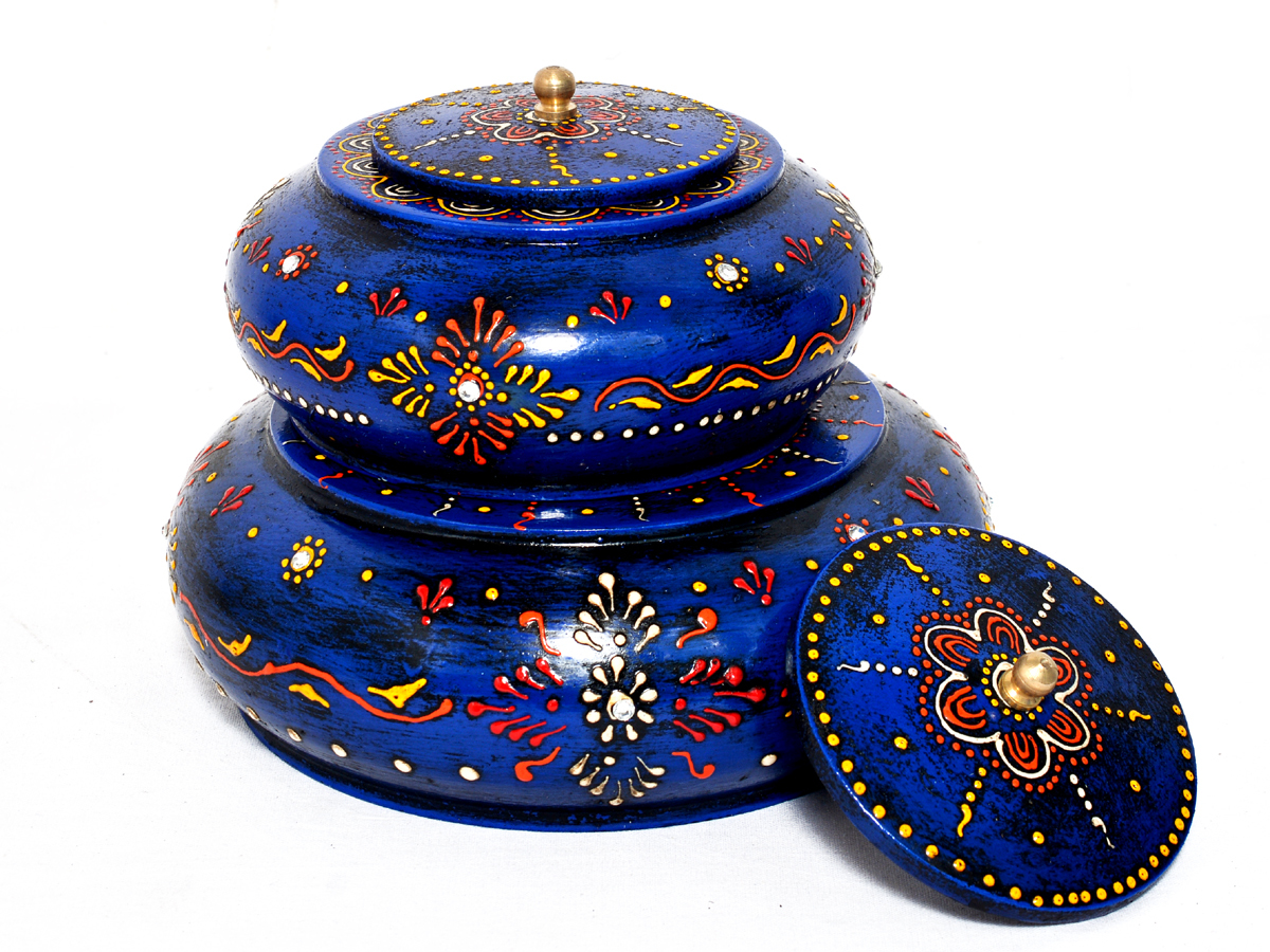 Decorative Wooden Painted Pill Box