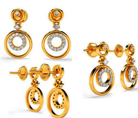 Round Gold Diamond Earring