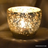 Silver Glass Small T Light Candle Holder