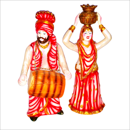 Poly Resin Jago Dholi Set Statue