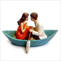 Poly Stone Boat Couple Statue