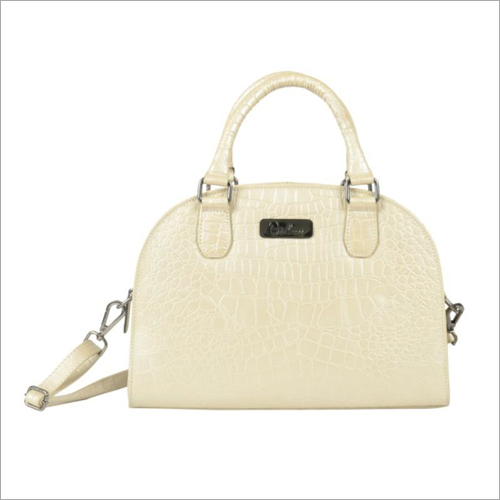 Ladies Metallic Pearl Leather Zip Hand Bag