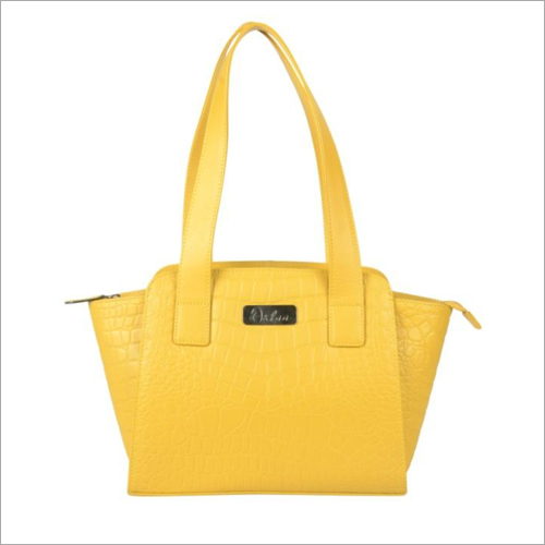 Ladies Yellow Leather Zip Shoulder Hand Bag