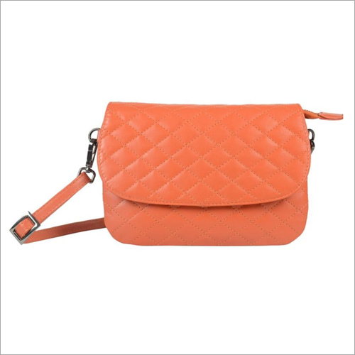 Ladies Orange Leather Snap Sling Bag