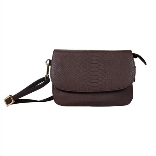Ladies Dark Brown Leather Snap Sling Bag