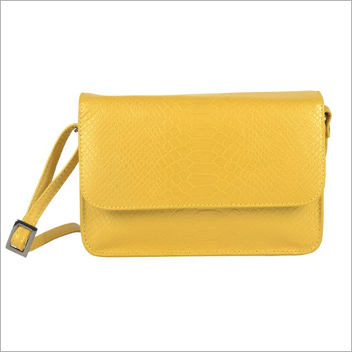 Ladies Metallic Gold Leather Snap Sling Bag