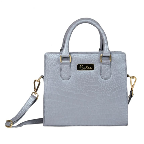 Ladies Metallic Silver Leather Zip Sling Bag