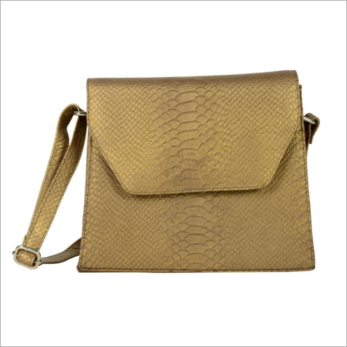 Ladies Metallic Copper Leather Snap Sling Bag