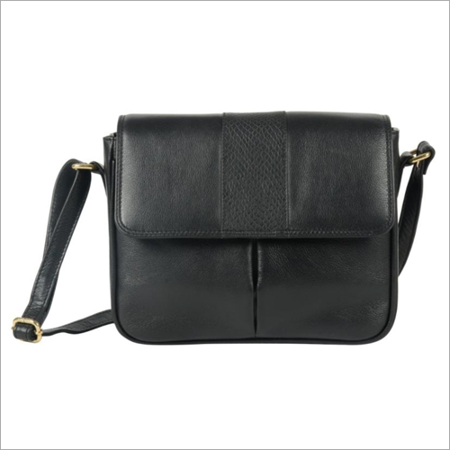 Ladies Black Leather Snap Sling Bag