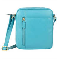 Ladies Turquoise Leather Zip Sling Bag