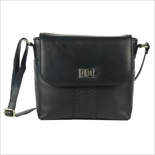 Ladies Black Leather Turn Lock Sling Bag
