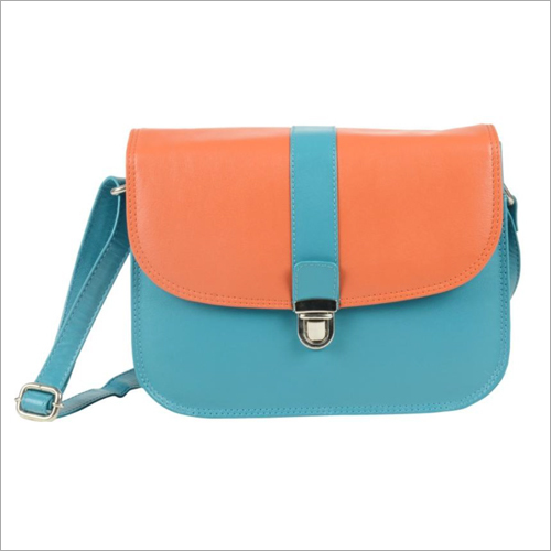 Ladies Turquoise Leather Push Lock Sling Bag