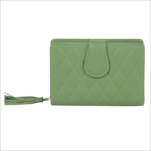 Ladies Sap Green Leather Zip Wallet
