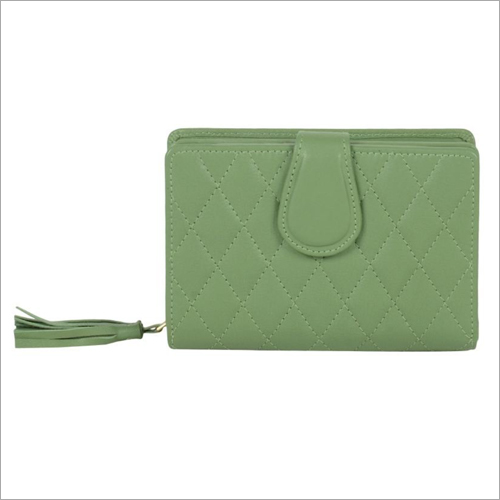 Ladies Sap Green Leather Zip Wallet
