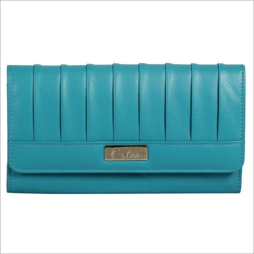Ladies Turquoise Leather Snap Wallet