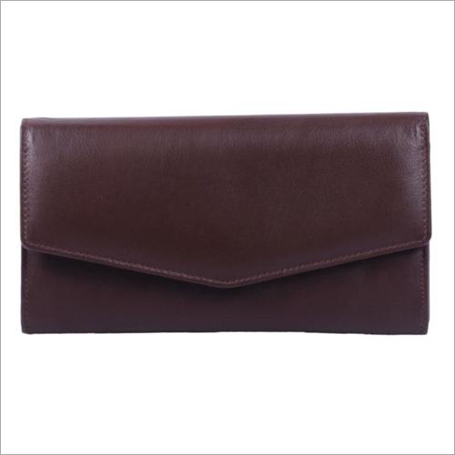 Ladies Dark Brown Leather Snap Wallet